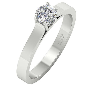 Solitaire Engagement Ring White Gold-SR-664-2