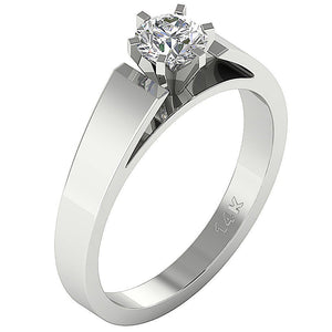 Vintage Solitaire Engagement Ring White Gold-SR 766-0.80-1