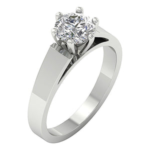 Six Prong Solitaire Ring 14k White Gold Side View-SR 766-1.80-2