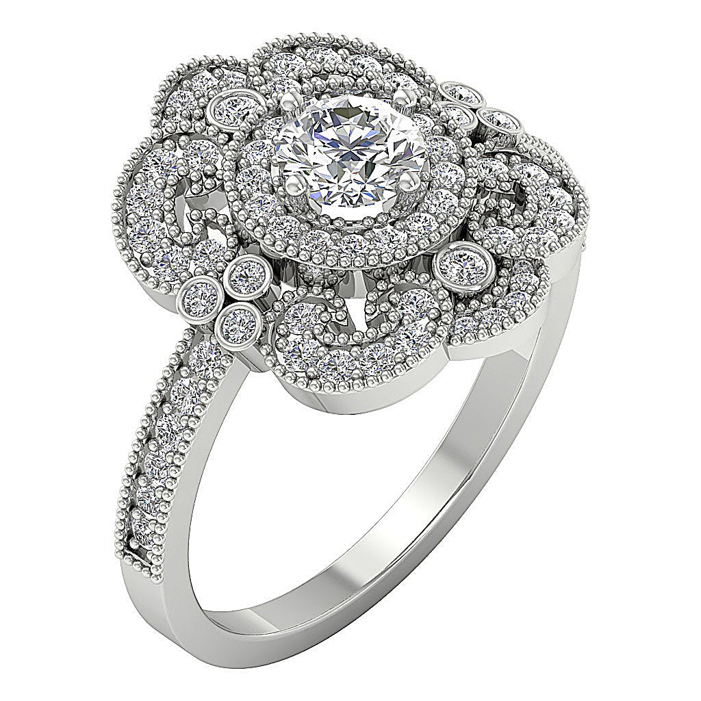 Filigree Vintage Designer Engagement Ring 14k Gold SI1 G 1.20 Carat Natural Round Diamond