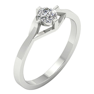 Vintage Solitaire Ring 14k Solid White Gold-SR-752-2