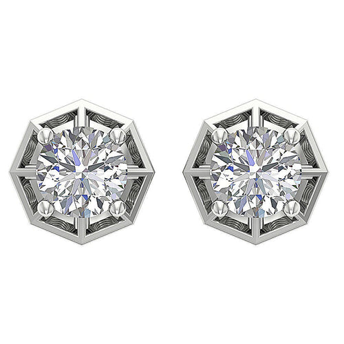 White Gold Designer Stud Earrings-DE209