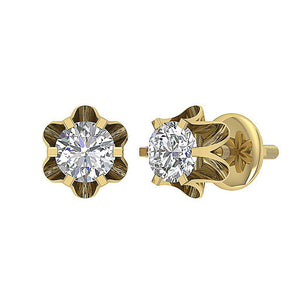 Designer Solitaire Studs Earring 14k/18k Solid Gold Natural Diamonds I1 G 0.30Ct