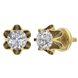 Yellow Gold Diamonds Earrings-DE191