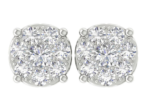 Stud Earrings White Gold-DE137