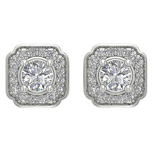 Designer Halo Solitaire Studs Earrings 14k/18k Solid Gold Round Cut Diamonds SI1 G 0.80 Ct