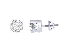 Load image into Gallery viewer, U Prong White Gold Solitaire Stud Earring-DST1-0.40-1