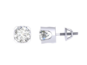 U Prong White Gold Solitaire Stud Earring-DST1-0.40-1