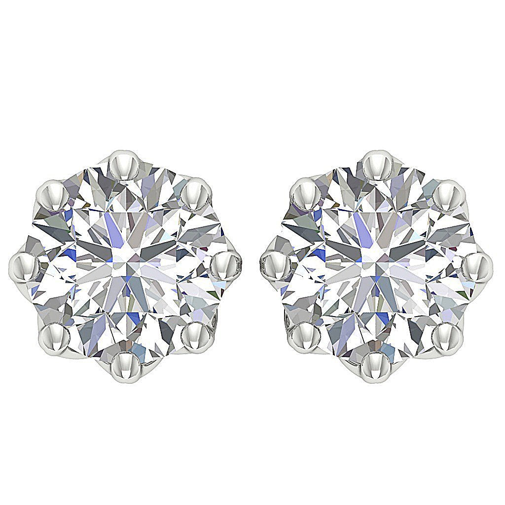 Front View White Gold Earrings-DST102