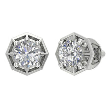 Load image into Gallery viewer, Designer Solitaire Studs Earrings Natural Diamonds I1 G 0.55 Ct 14k/18k Solid Gold