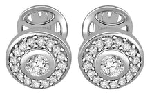 Load image into Gallery viewer, Designer Halo Solitaire Studs Earrings Pave Set 14k/18k Gold Natural Diamonds I1 G 0.50 Ct