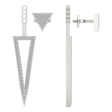 Load image into Gallery viewer, Removable Jacket Studs Earrings 14k-18k White Gold-E-780-12