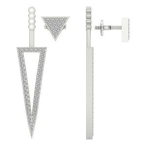 Removable Jacket Studs Earrings 14k-18k White Gold-E-780-12