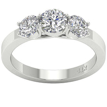 Load image into Gallery viewer, Designer Three Stone Wedding Ring I1 G 1.80 Carat Natural Diamond Prong Set 14k White Gold 5.65MM