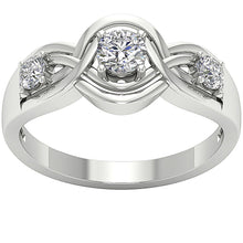 Load image into Gallery viewer, Three Stone Wedding Ring 14k Solid White Gold-DTR159-TR-165-3