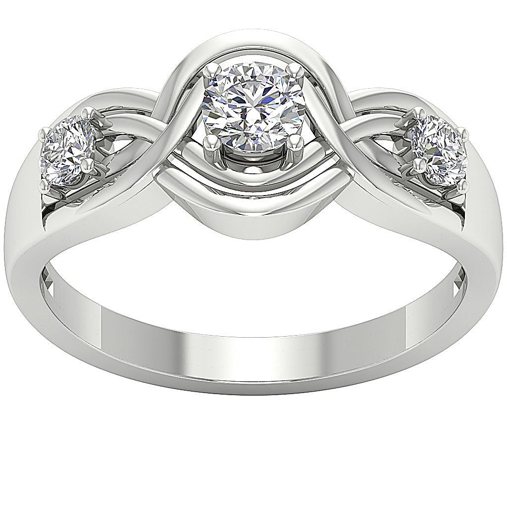 Three Stone Wedding Ring 14k Solid White Gold-DTR159-TR-165-3