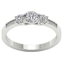 Load image into Gallery viewer, Prong Set Three Stone 14k Solid White Gold Ring-TR-103-1