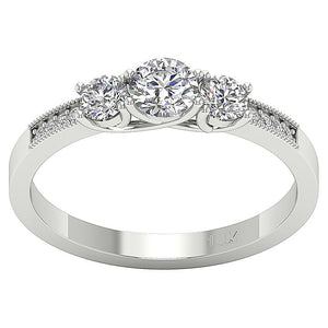 Prong Set Three Stone 14k Solid White Gold Ring-TR-103-1
