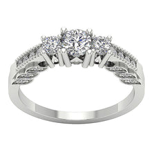 Load image into Gallery viewer, Milgrain Three Stone Engagement White Gold Ring-TR-120