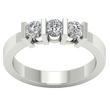 Load image into Gallery viewer, Bar Set Three Stone Wedding White Gold Ring-TR-64-1