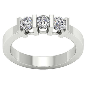 Bar Set Three Stone Wedding White Gold Ring-TR-64-1