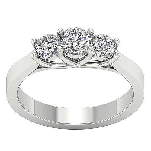 Three Stone Prong Set White Gold Ring-TR-69C-1