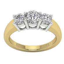Load image into Gallery viewer, Three Stone Prong Set 14k Solid Yellow Gold Ring-DTR17-TR-107-1