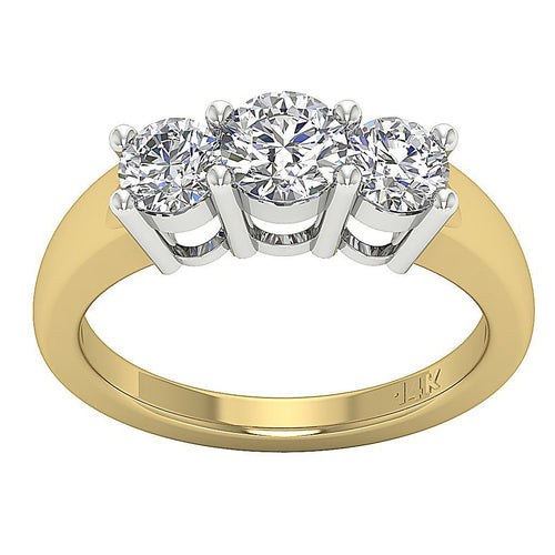 Three Stone Prong Set 14k Solid Yellow Gold Ring-DTR17-TR-107-1
