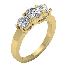 Load image into Gallery viewer, 14k Solid Gold Three Stone Engagement RingTR-102-3