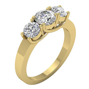 14k Solid Gold Three Stone Engagement RingTR-102-3