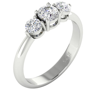 14k White Yellow Rose Gold Three Stone Engagement Ring SI1 G 1.01 Ct Round Diamond Prong Set 5.00MM