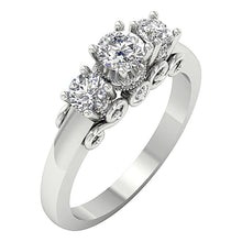 Load image into Gallery viewer, 14K White Gold Designer Three Stone Wedding Ring Real Diamond SI1 G 1.25Ct Prong & Bezel Set 6.00MM