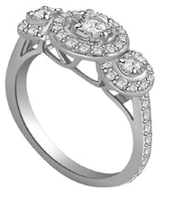 Load image into Gallery viewer, Designer Three Stone Engagement Ring Natural Round Diamond I1 G 0.90 Carat Prong & Pave Set 8.45MM