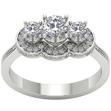Load image into Gallery viewer, Designer Three Stone Anniversary Ring Natural Round Diamond SI1 G 1.15 Ct Prong Set Width 7.60MM
