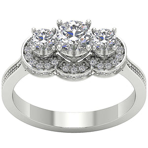 Designer Three Stone Anniversary Ring Natural Round Diamond SI1 G 1.15 Ct Prong Set Width 7.60MM