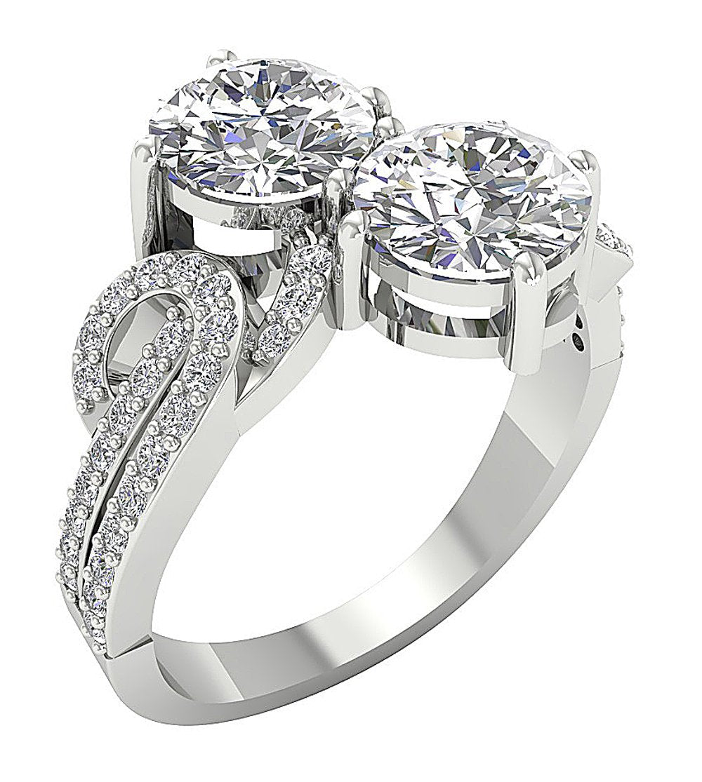 Two Stone Ring 14k White Gold-DSR339