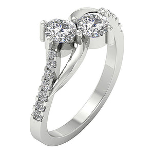 SI1 G 1.10 Ct Forever Us Two Stone Designer Solitaire Wedding Ring Natural Diamond
