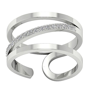 Right Hand Designer Unique Ring Natural Round Diamond I1 G 0.25 Ct 14k White Gold Prong Set 12.00MM