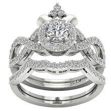 Load image into Gallery viewer, Designer Halo Bridal Ring Set Natural Diamond SI1 G 1.50 Ct