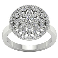 Load image into Gallery viewer, White Gold Designer Genuine Diamond Ring-DRHR3-3