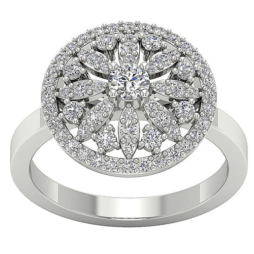 White Gold Designer Genuine Diamond Ring-DRHR3-3
