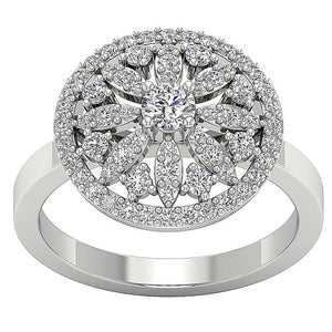 Round Diamond 14k White Gold Ring-DRHR3-3