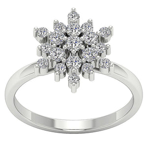 14k White Gold Prong Set Natural Diamond SI1 G 0.85 Ct Right Hand Vintage Designer Ring 13.80MM