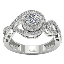 Load image into Gallery viewer, Halo Solitaire Ring Prong Set White Gold-SR-1040-3