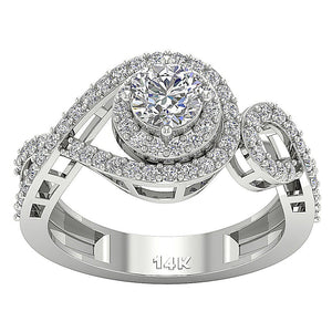 Halo Solitaire Ring Prong Set White Gold-SR-1040-3