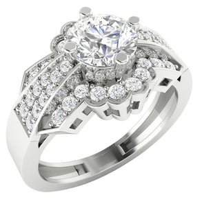 14K Gold Solitaire Round Cut Diamond Engagement Ring I1 G 1.30 Carat