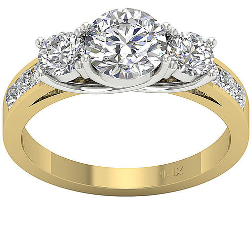Three Stone Wedding Two Tone Gold Ring-DTR107-TR-115
