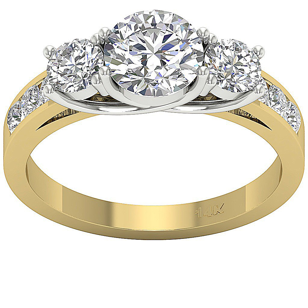 14K Two Tone Gold Three Stone Wedding Ring Natural Diamond SI1 G 1.70 Ct Prong & Channel Set 5.40MM
