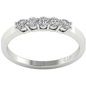 Designer Five Stone Wedding Ring VVS1 E 0.50 ct Natural Diamond 14k White Gold