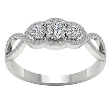 Load image into Gallery viewer, Designer Three Stone Wedding Ring Natural Round Diamond I1 G 0.90 Ct Prong Set Width 7.00MM
